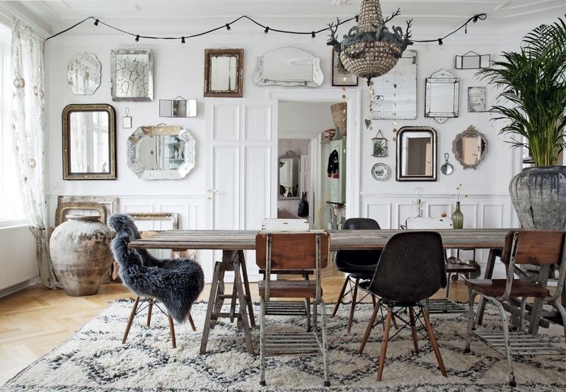 deco miroir salon tapis moelleux guirlande lumineuse plante verte d intérieur