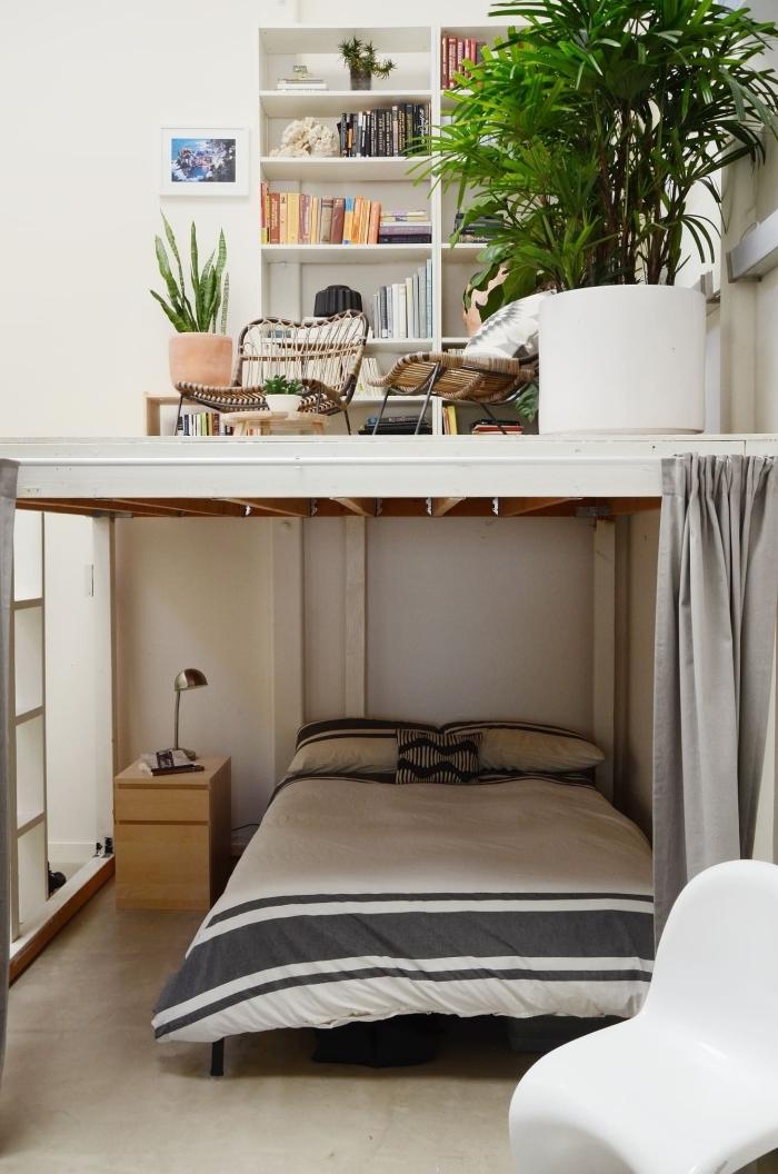 design chambre avec mezzanine coin de lecture bibliothèque
