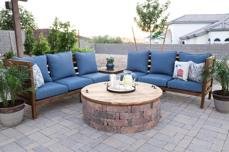 fabriquer un brasero table couvert meubles de jardin plantes