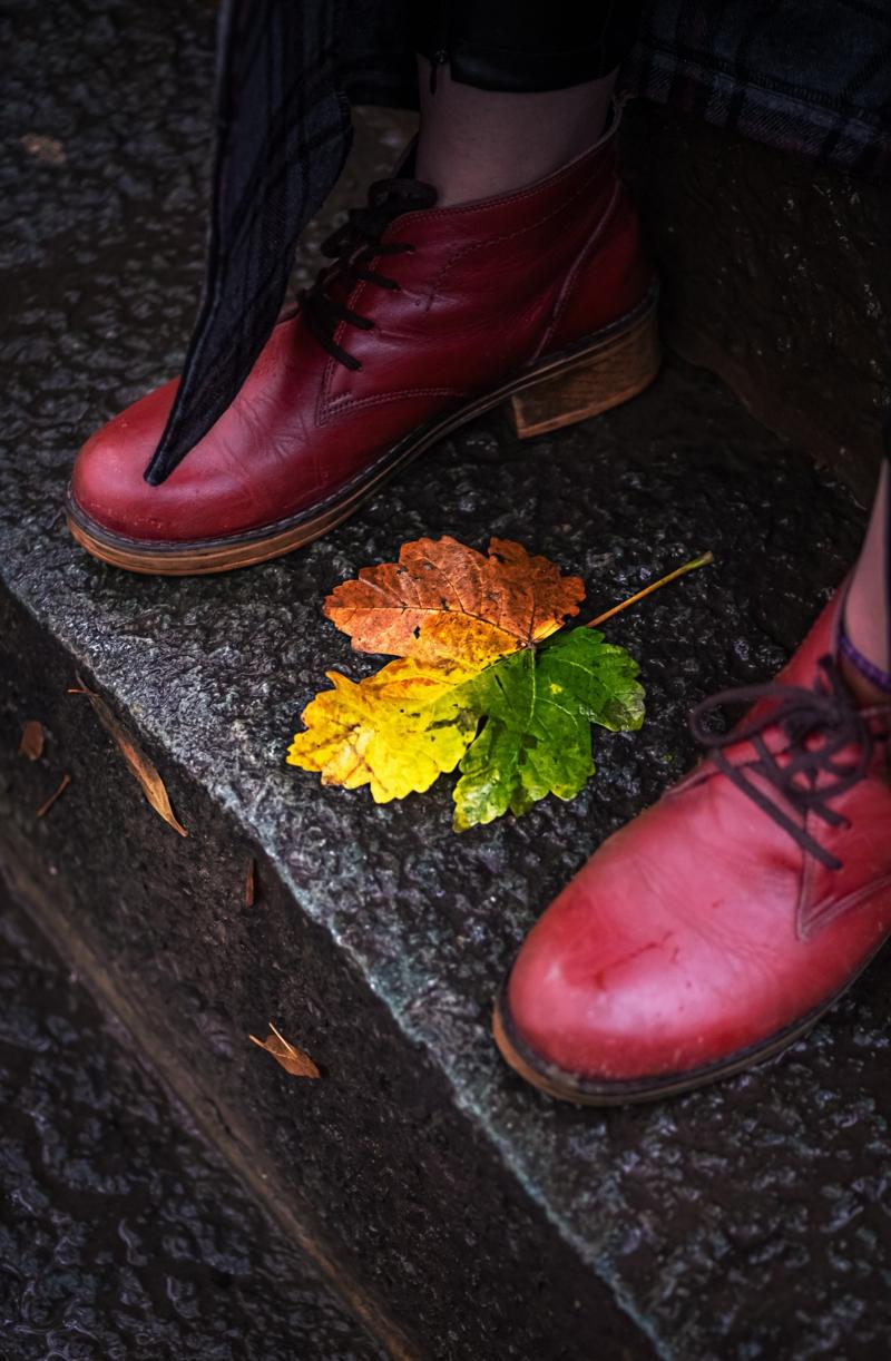 femme élégante deux chaussures de l automne et une feuille multicolore