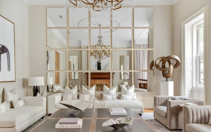 idee deco miroir salon astuce agrandir visuelement espace