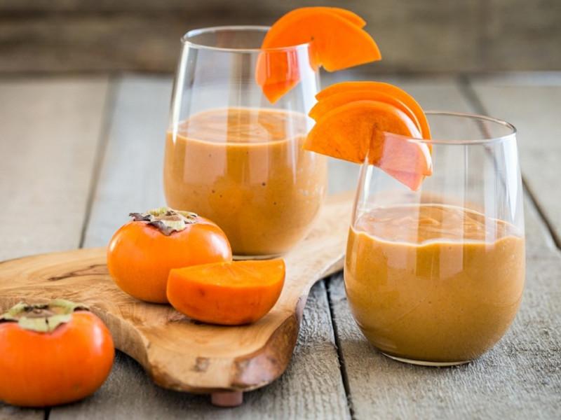 kaki recette deux tasses de smoothie orange a base de kaki plein de saveurs