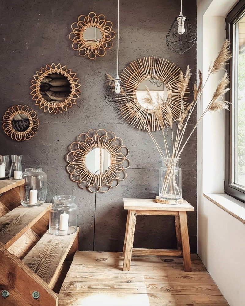 miroir couloir entree peinture béton miroir soleil herbe pampas