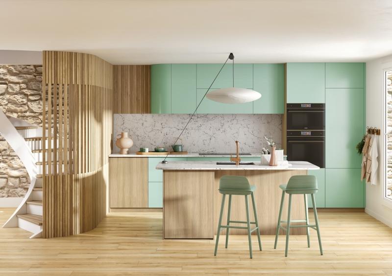 modèle cuisine electrio bois et vert îlot agencement