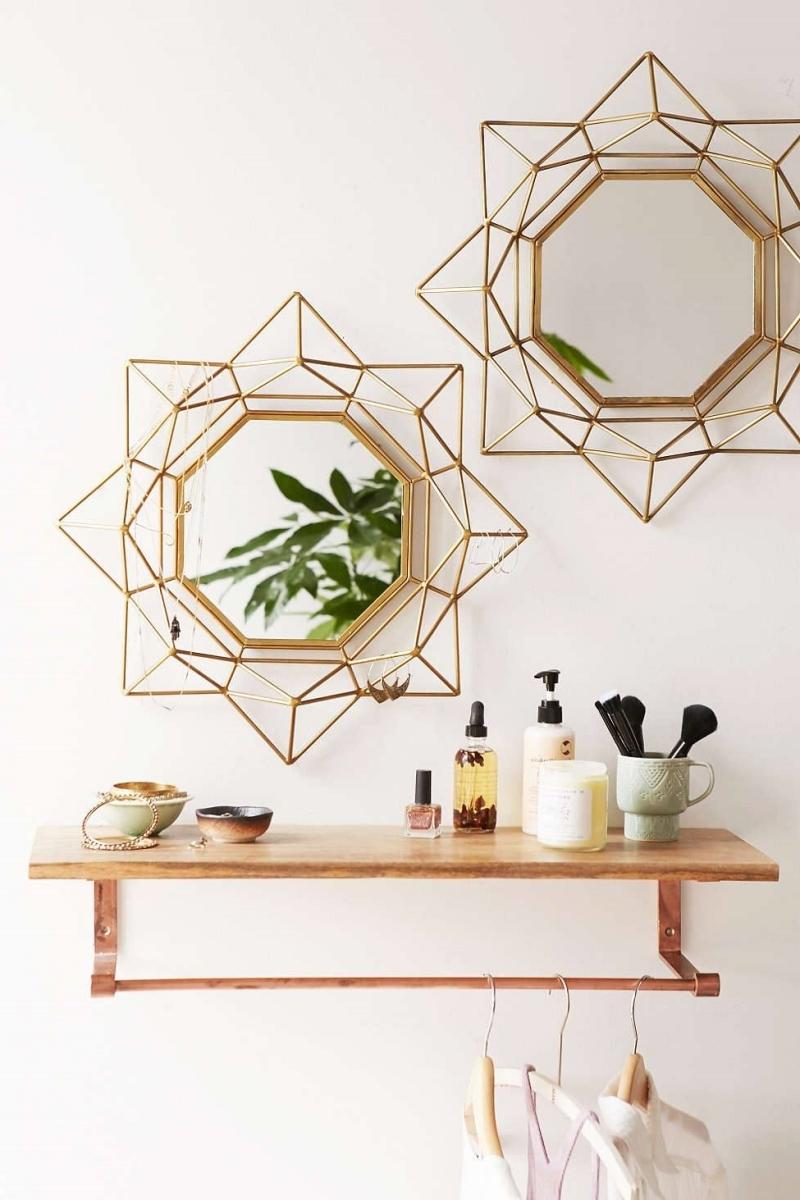 mur de miroir étagère bois suspendue accessoires porte bijoux