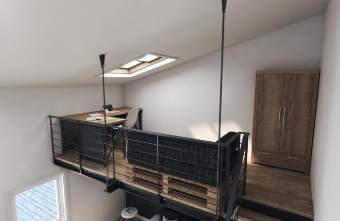 rambarde mezzanine métal escalier moderne bois et noir fenetre toit