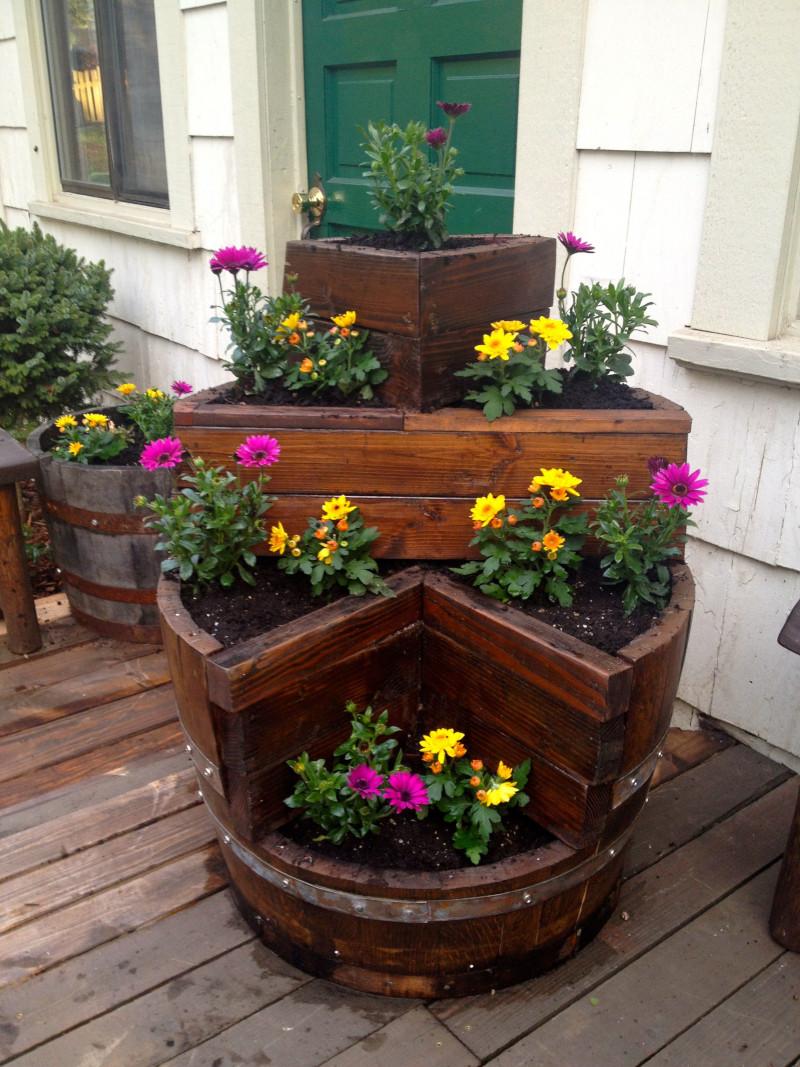 tonneau en bois-pot de fleur original