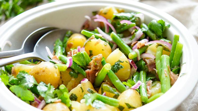 salade pomme de terre froide vinaigrette avec haricots verts