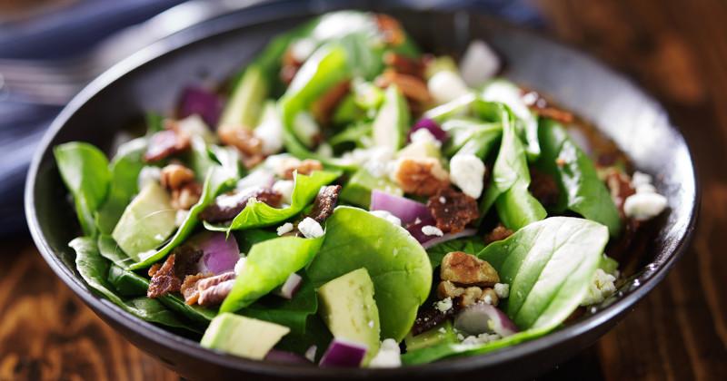 salade d'épinard, concombre et noix