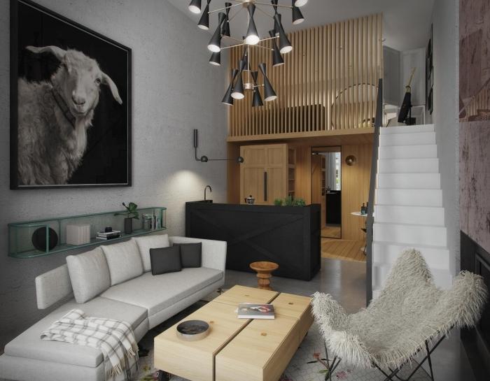 style contemporain aménagement petit appartement 40m2 blanc et noir