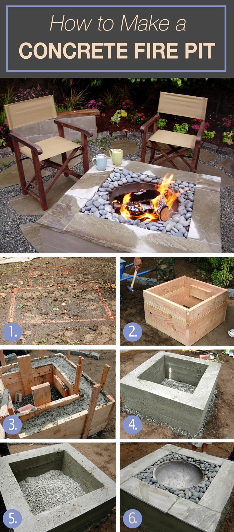 table brasero construction ciment chaise tutoriel fabrication feu