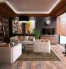 tendances déco salon 2021 mur en couleur sombre mobilier en beige