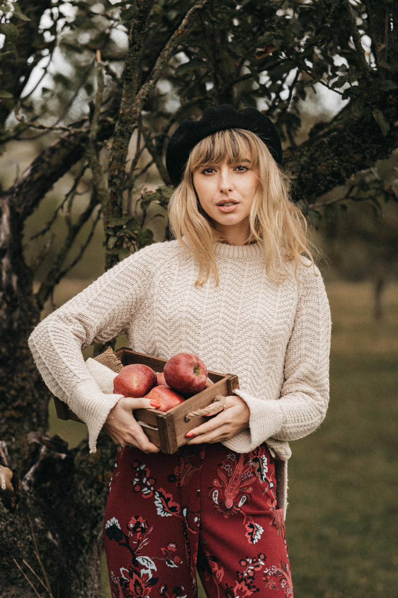 variétés de pomme une femme qui tient un panier de pommes
