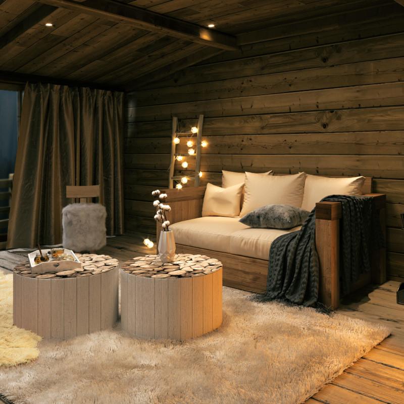amenagement interieur cabane en bois salon mansardé canapé en beige clair table en bois brut
