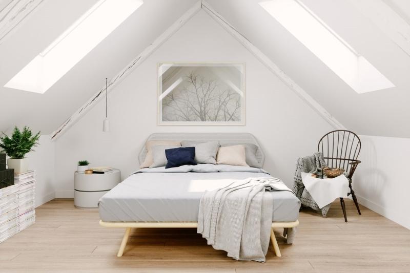 chaise coussins décoratifs lit bois cadre chambre cosy romantique