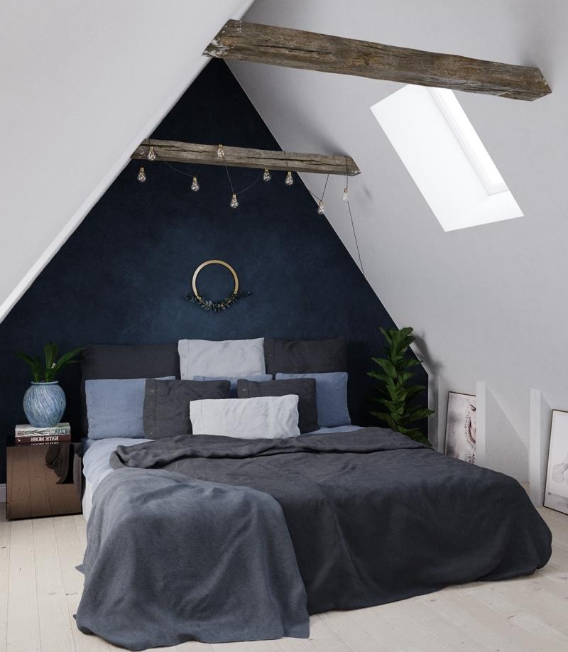 chambre parentale cosy peinture bleu foncé guirlande lumineuse