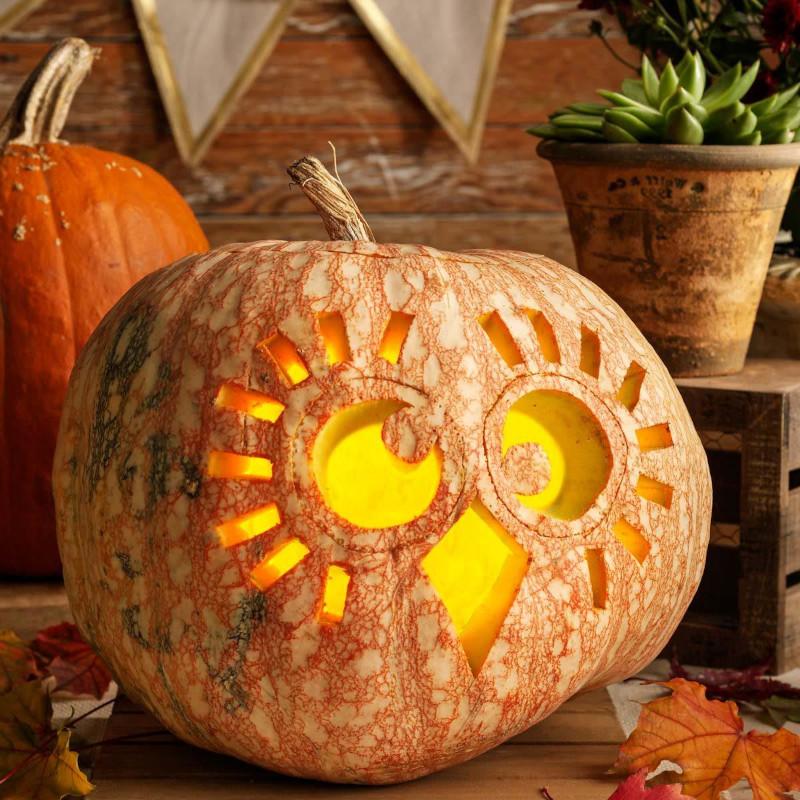 courge halloween simple mais jolie découpe originale en hibou deco automnale