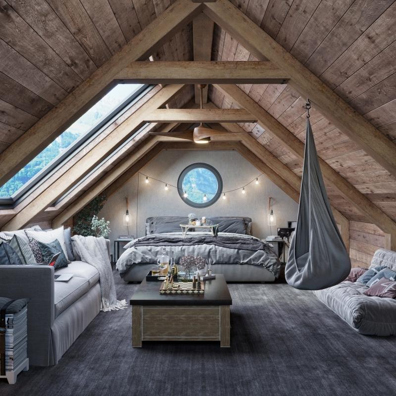 déco bois chambre grise cocooning canapé balancoire oeuf suspendu