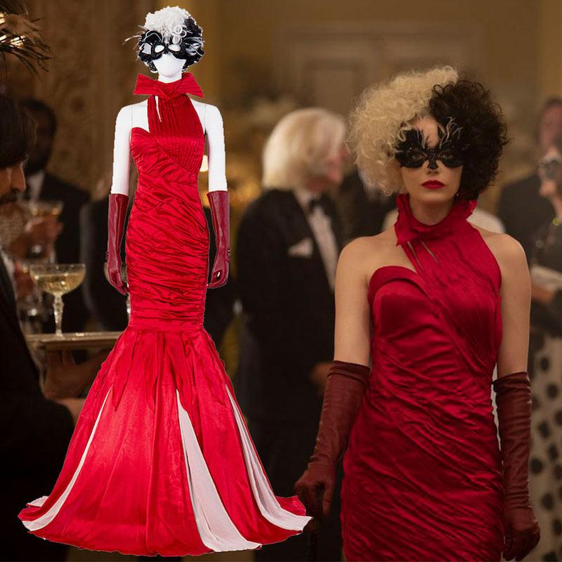 deguisement cruella 2021 modele de deguisement halloween originale en longue robe rouge cheveux bicolores.jpg large