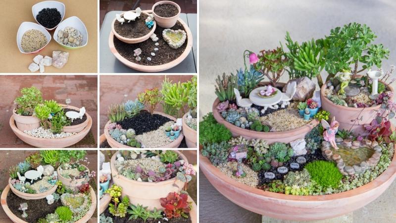 diy modele jardin exotique succulentes plantes grasse figurines miniatures