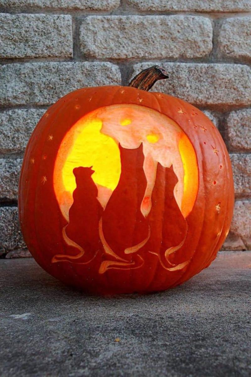 modele de citrouille pour halloween trois chats silhouettes sombres fond clair mur en briques