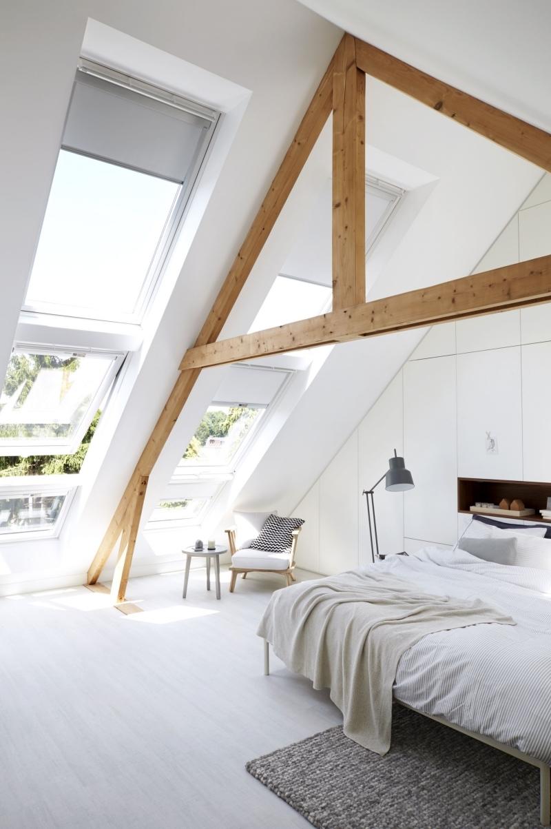 poutres plafond peinture blanche cocooning deco chambre parentale