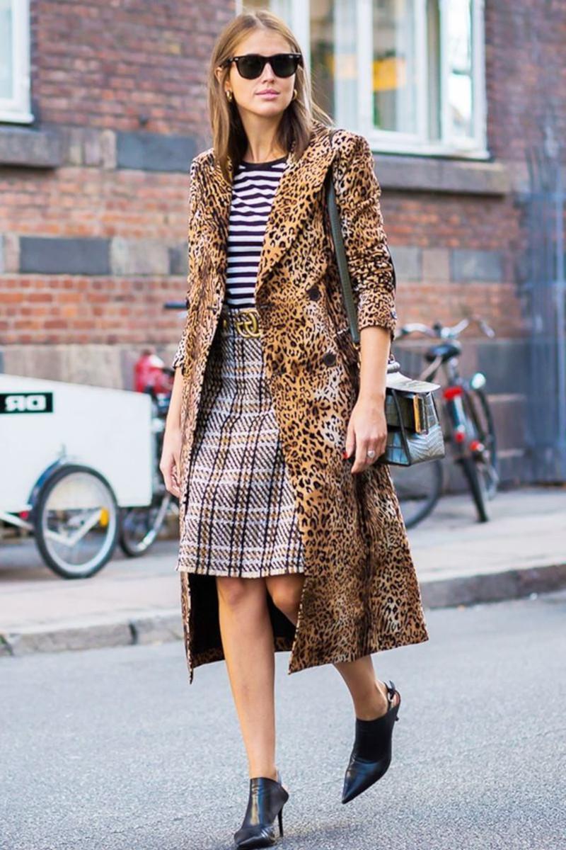 vetement leopard manteau jupe genoux prince des galles top en noir et blanc